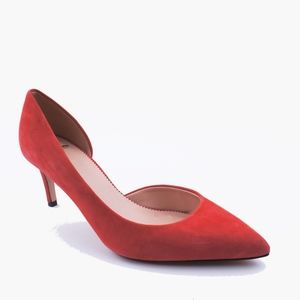 New JCREW Red Lucie Suede D'Orsay Pumps